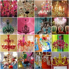 colored chandeliers.. on the contrary whole house is earthy somewhat dull colors with mochas and sky blues and grays but when ıt comes to these chandaliers I go NUTZZZZ!!! I want me one of these babies.....