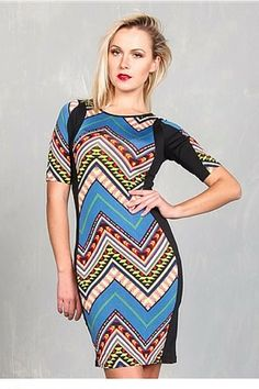 Blue Aztec Pattern Bodycon Dress from CHESLEY! - 5dollarfashions.com