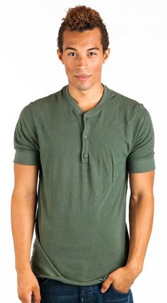 Alternative Apparel Men's Short Sleeve Henley Shirt Military Green NWT S 2XL. ShopInReality
