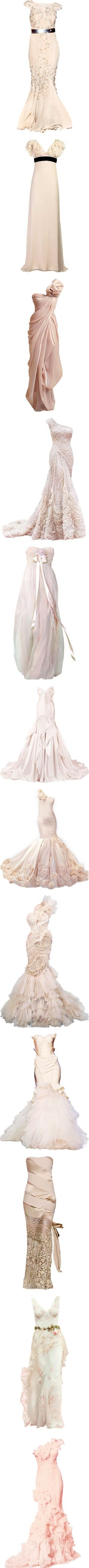 Rose Evening Dresses by linea-prima on Polyvore featuring dresses, gowns, long dress, satinee, vestidos, badgley mischka evening dresses, badgley mischka gown, pink evening gowns, pink ball gown and long dresses