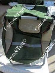 Fishing Stool with Back Pack Cooler Features:  Frame: 22mm Steel frame powder coated silver Fabric: Polyesters with inner sealed lining regards the cooler bag  Other: Detachable carry bag  Quick access entrance, Fully sealed seams  Storage compartment for harness system  Reflective tape  Weight limit static:  100kg  Packed dimension: (1pcs) 52 x 35 x 7cm  Packed weight 1.65kg