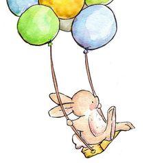 Children Art. The Balloon Swing-BOYS. PRINT 8X10. by LoxlyHollow