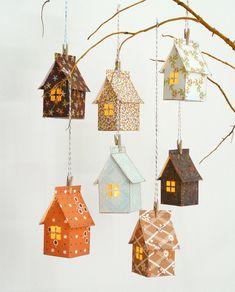 Stitch & Fold Paper House Luminary Kit - Artesanato marcador - Home Kids Crafts, Projects For Kids, Diy And Crafts, House Projects, Foam Crafts, Simple Paper Crafts, Wood Projects, Noel Christmas, Christmas Crafts