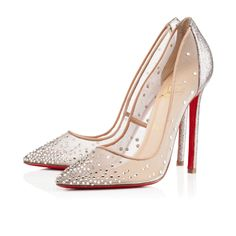 These Louboutins are chic and glam! They remind me of  fairy tale shoes that a modern day Cinderella would wear. I love the silver embellishments on the pointed toe and the silver glitter on the back. The sheer material gives it a delicate feel.