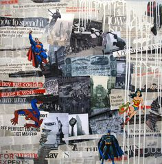 The Day The Heroes Quit - Collages et peinture sur toile 80x80