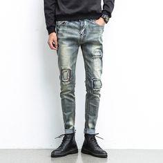 Men Jeans Ripped Biker Hole Denim robin patch Harem jeans for men Pants #Affiliate