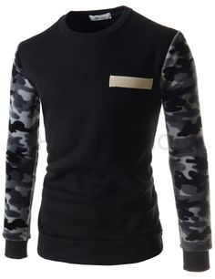 (YR19-BLACK) Mens Slim Round Neck Camouflage Pattern Patch Napping Long Sleeve Tshirts