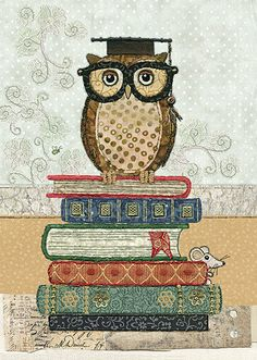 Book Owl - Bug Art greeting cards.