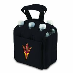 NCAA Arizona State Sun Devils Six Pack Cooler Tote by Picnic Time. $34.95. Securely houses standard size beverages; Great for tailgating!. Durable Neoprene insulates and protects 6 bottles or cans. Picnic Time digital print team logoed 6 pack cooler tote. A great way to celebrate your almamater. Handy side pocket for personal items. This Picnic Time Six Pack team logoed insulated beverage tote features a durable Neoprene construction with comfy padded handles and allows  you to ...