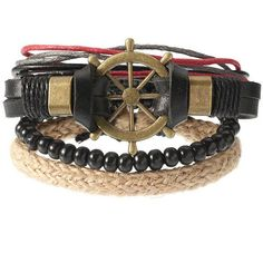 's Punk Bracelet Retro Leather Rudder Anchor Bracelet ($6.27) ❤ liked on Polyvore featuring jewelry, bracelets, brown, punk jewelry, anchor jewellery, leather bangles, anchor bangle and punk rock jewelry