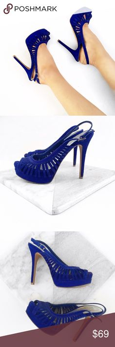 Jessica Simpson blue suede heels Super chic! No trades. Always open to offers. All photos are of actual item Jessica Simpson Shoes Heels