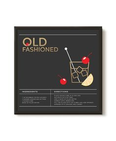 Framed Old Fashioned Cocktail Recipe Print. Ready to by ILKADesign