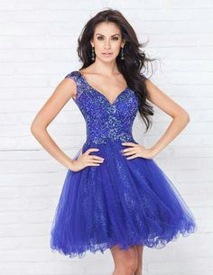 2b65799b4c2 A-Line Round Neck Dark Blue Tulle Short Homecoming Dress with Lace Beading