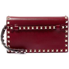 Valentino Small Burgundy Rockstud Clutch ($1,345) ❤ liked on Polyvore featuring bags, handbags, clutches, flat purse, studded purse, burgundy purse, purple purse and pocket purse