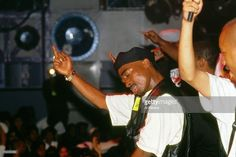 Rapper Tupac Shakur performs onstage at the Palladium on July 23, 1993 in New York, New York.