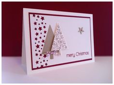 "Christmas card created with Stampin Up cardstock, star border punch, ""Festival of Trees"" as well as stamps from ""Cool Buddies"" by Create a Smile Stamps"