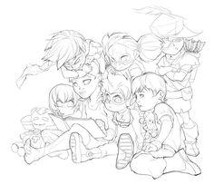 Young Justice - Robin, Kid Flash, Auqualad, Speedy: DC Comics, cartoon network, lineart [ Cute :3 ]