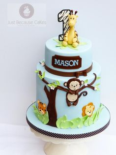 First Birthday Monkey Cake - Cake by Just Because CaKes