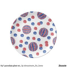 8.5'' porcelain plate with red-blue balls