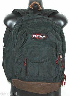 VINTAGE EASTPAK USA LEATHER BOTTOM MULTI POCKET BACKPACK SCHOOL BOOK BLACK BAG  #Eastpak #Backpack