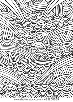Abstract doodle pattern. Decorative vector background. Black and white line. Coloring book page for adult. Poster, banner, web and mobile template
