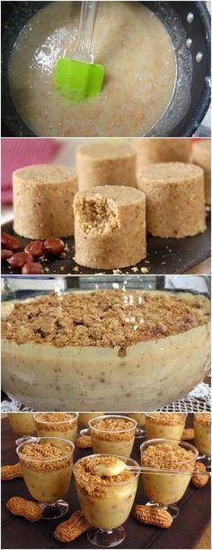 Creme de paçoca…Fica Maravilhoso!! VEJA AQUI>>>Misture o leite condensado com o leite, o amido e a baunilha e leve ao fogo médio até engrossar e aparecer o fundo da panela. #receita#bolo#torta#doce#sobremesa#aniversario#pudim#mousse#pave#Cheesecake#chocolate#confeitaria