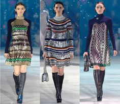 """Breaking Trends Pre-Fall 2015: Dior's Shimmering Dolls. Tokyo—The Christian Dior show featured a flurry of """"snow,"""" silver mirrored sunglasses and shimmery sequins in the most unusual places (like Fair Isle sweaters and cable-knit dresses). Cool whites, blues and purples, plus crazy doll-like eye makeup all contributed to the otherworldly feel."""