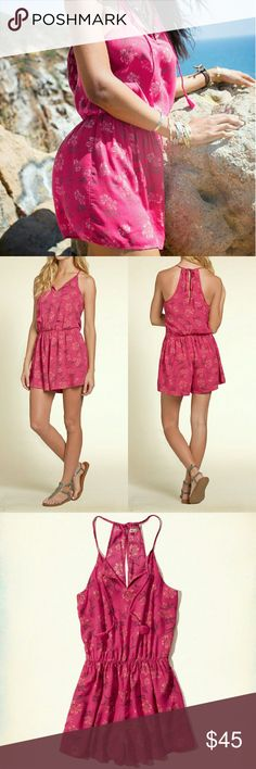 💲29✂Hollister Romper Pink Floral ✨NWT, but not attached Got torn off when I was taking picture 😫  ⏩Boho-chic one-piece style with a tassel-accented floral popover!  ⏩Light and drapey, it feels so amazing on ⏩Cinched at waist with tassel detail at neckline ⏩Tie and keyhole at back ⏩100% Viscose, so soft and comfortable ⏩Super cute, perfect with or without cardigan for your casual hang out! ⏩This romper makes you feel feminine & sexy with very little effort. Must-have this season! Hollister Pants Jumpsuits & Rompers