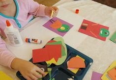 Kindergarten paper monster craft for Halloween