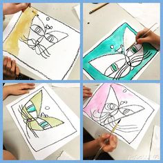 "These Paul Klee cats are a popular direct draw. After reading ""The Cat and Bird"" we created our own with oil pastel and watercolor. #harvestridgeplaceracademy #placeracademy #artroom #artteacher #coreknowledgecurriculum #coreknowledge #secondgradeart"