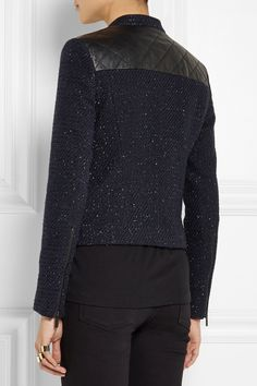 Karl Lagerfeld | Nicole leather-paneled cotton-blend bouclé jacket | NET-A-PORTER.COM, $575