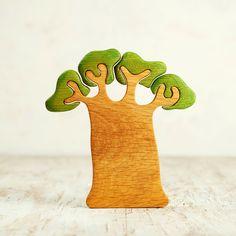Handmade Painted toy swan apple tree miniature Waldorf wood puzzle figurine Wooden toy animal