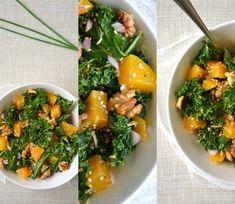 Ma nouvelle salade préférée ! des feuilles de chou kale, des noix et de la courge....humm un régal ! demandez moi la recette ;)