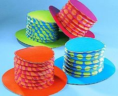 Previously £12.99 - SAVE £5 - END OF LINE - 12 Expandable Top Hats for Parties or Decorating, Themed Crafts, Circus & Clown Crafts, childrens crafts, children's craft supplies