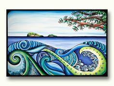 "A print of my favourite painting ""Tangaroa"", a bit of kiwiana with the pohutakawa tree and islands off the coast of Whitianga in the Coromandel, along with strongly stylized vibrant waves. Maori Designs, Maori Patterns, New Zealand Art, Nz Art, Maori Art, Kiwiana, Ink Illustrations, Art Classroom, Pattern Art"