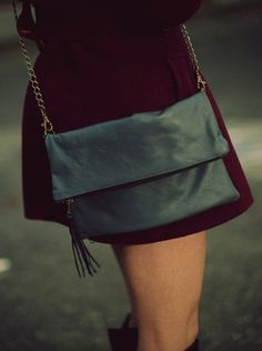 Fold Over Clutch / Black Leather Bag / Soft