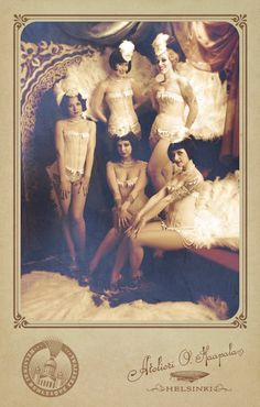 "Is it live or is it Memorex? ""Burlesque ladies style"" photo, early 20th century era, a tinted photo or daguerreotype photo, early 1900s look achieved in this photo."