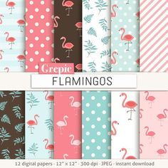 Flamingo digital paper: FLAMINGOS pink flamingo patterns by Grepic