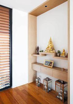 Thai style Condo Interior Design, Dream House Interior, Home Room Design, Living Room Designs, Living Room Decor, House Design, Buddha Home Decor, Meditation Room Decor, Pooja Room Door Design