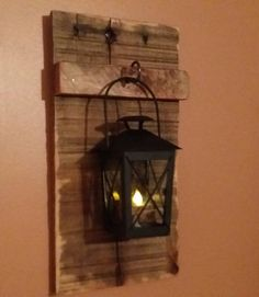 Rustic wood candle holder with lantern wood by TeesTransformations Wood Sconce, Candle Sconces, Rustic Wood, Rustic Decor, Diy Pallet Wall, Rustic Candle Holders, Tea Candles, Hanging Lanterns, Wall Lantern