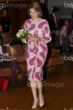 Queen Mathilde of Belgium arrives for the first session of the first round of the Queen Elisabeth Piano Competition 2016 at the Brussels' Flagey, Monday 02 May 2016. BELGA PHOTO DIRK WAEM