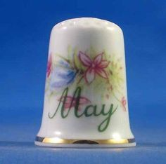 FINE PORCELAIN CHINA THIMBLE - FLOWER OF THE MONTH -- MAY