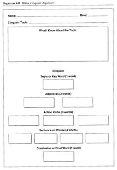 Template for students to write a cinquain poem about a topic in order to summarize learning.