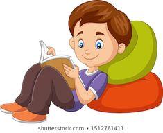 Cartoon boy reading a book Cartoon N, Portfolio, Calculator, Art For Kids, Books To Read, Decoupage, Art Projects, Clip Art, Education