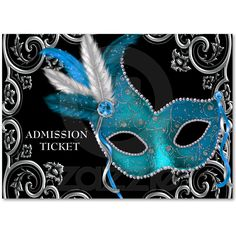 Teal Blue Masquerade Party Admission Tickets Business Card from Zazzle.com