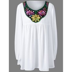 Plus Size Bead and Embroidery Blouse | TwinkleDeals.com