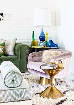 DESERT JEWEL // PALM SPRINGS HOME TOUR; Jonathan Adler velvet chair and brass side table | Palm Springs Style Magazine