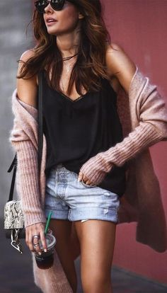 breezy morning outfit / black top + long cardigans + jean shorts #summer #outfits