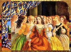 Kinuko Craft - The Twelve Dancing Princesses : 네이버 블로그 12 Dancing Princesses, Medieval Paintings, Fairytale Art, Art Et Illustration, Princesas Disney, Beautiful Paintings, Retro, Cover Art, Fantasy Art