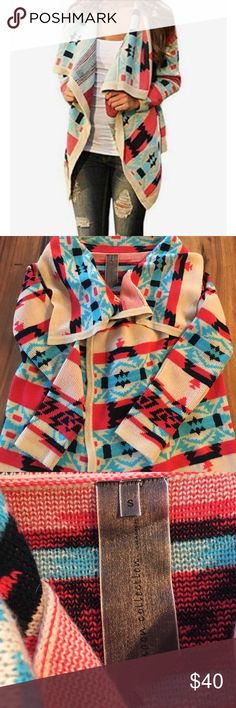 Moon Collection Emily Aztec Tribal Cardi Sweater Super soft and thick cardigan in an Aztec design. Can fit a small to medium. In excellent condition, only worn once. Moon Collection Sweaters Cardigans